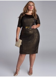 All this dress would need is long gold earrings, gold bracelets on one arm, and a big gold/black ring on the opposite hand. Gold sandals would complete the look. IGIGI.com